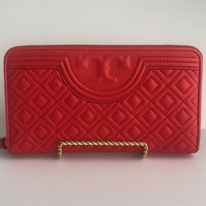 TORY BURCH Red Fleming Continental Wallet